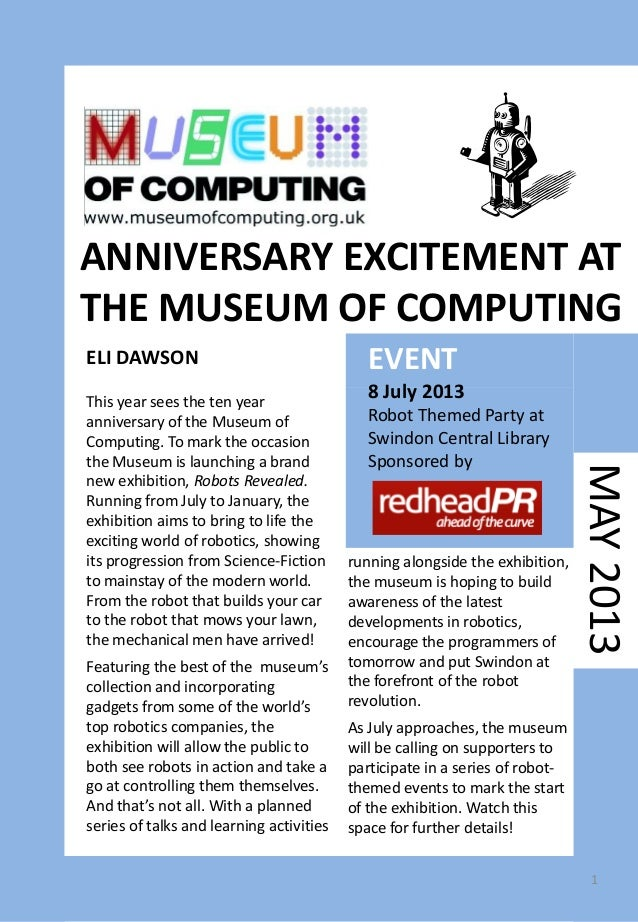 MAY2013EVENT8 July 2013Robot Themed Party atSwindon Central LibrarySponsored byThis year sees the ten yearanniversary of t...