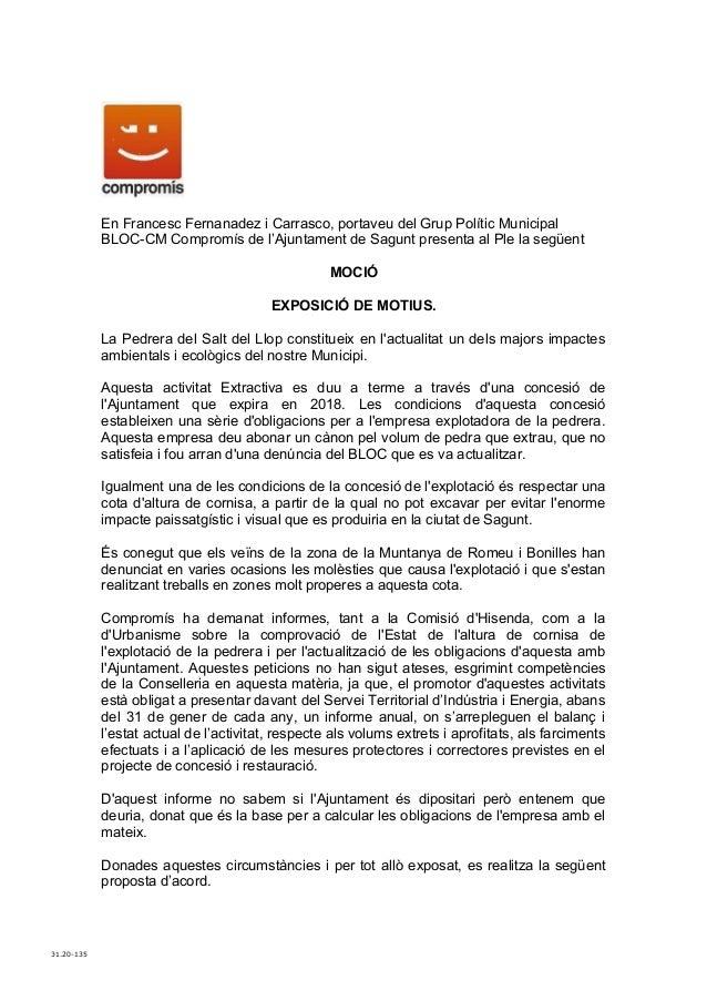 En Francesc Fernanadez i Carrasco, portaveu del Grup Polític Municipal            BLOC-CM Compromís de l'Ajuntament de Sag...