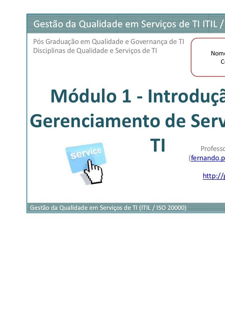 Material ITIL Fondation - parte 01 de 03
