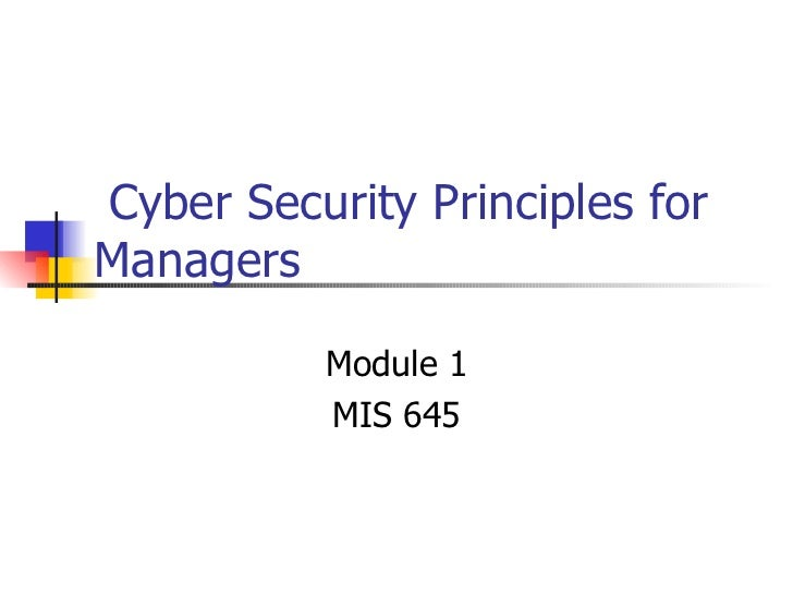 Cyber Security Principles for Managers  Module 1 MIS 645