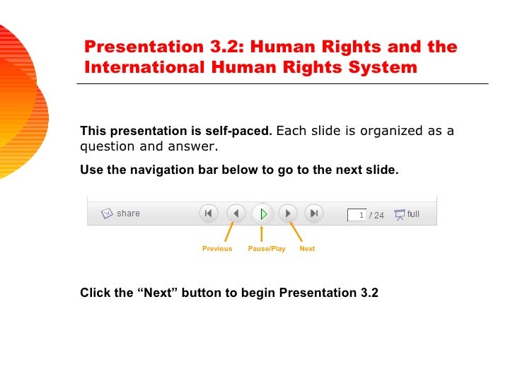 Presentation 3.2: Human Rights and the International Human Rights System  This presentation is self-paced.  Each slide is ...