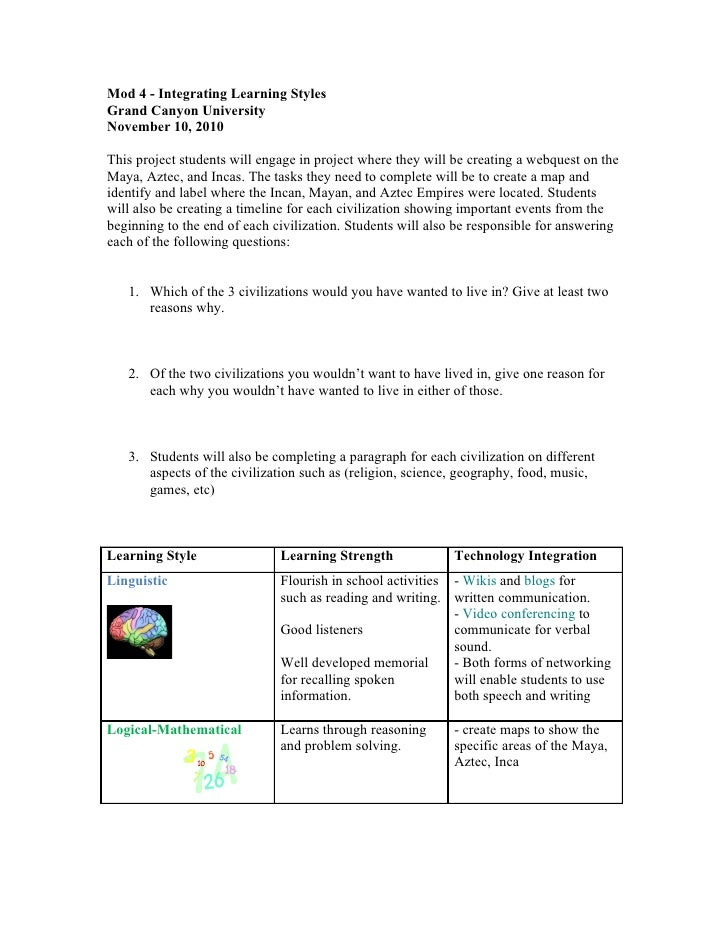 Mod 4 - Integrating Learning StylesGrand Canyon UniversityNovember 10, 2010This project students will engage in project wh...