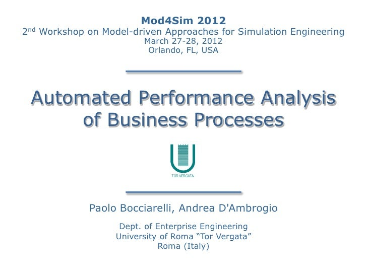 Mod4Sim 20122nd   Workshop on Model-driven Approaches for Simulation Engineering                           March 27-28, 20...