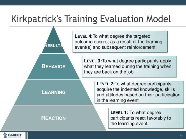 kirkpatricks four level training evaluation model Adaptation of kirkpatrick's four level model of training criteria to assessment of learning outcomes and program evaluation in higher education.