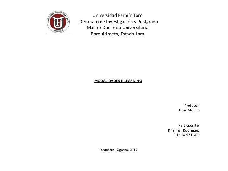 Universidad Fermín ToroDecanato de Investigación y Postgrado   Máster Docencia Universitaria     Barquisimeto, Estado Lara...