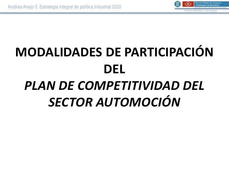 Modalidades de participación PLAN DE COMPETITIVIDAD DEL SECTOR AUTOMOCIÓN