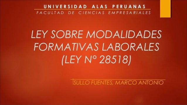 UNIVERSIDAD       ALAS    PERUANASFACULTAD   DE   CIENCIAS   EMPRESARIALESLEY SOBRE MODALIDADES FORMATIVAS LABORALES      ...