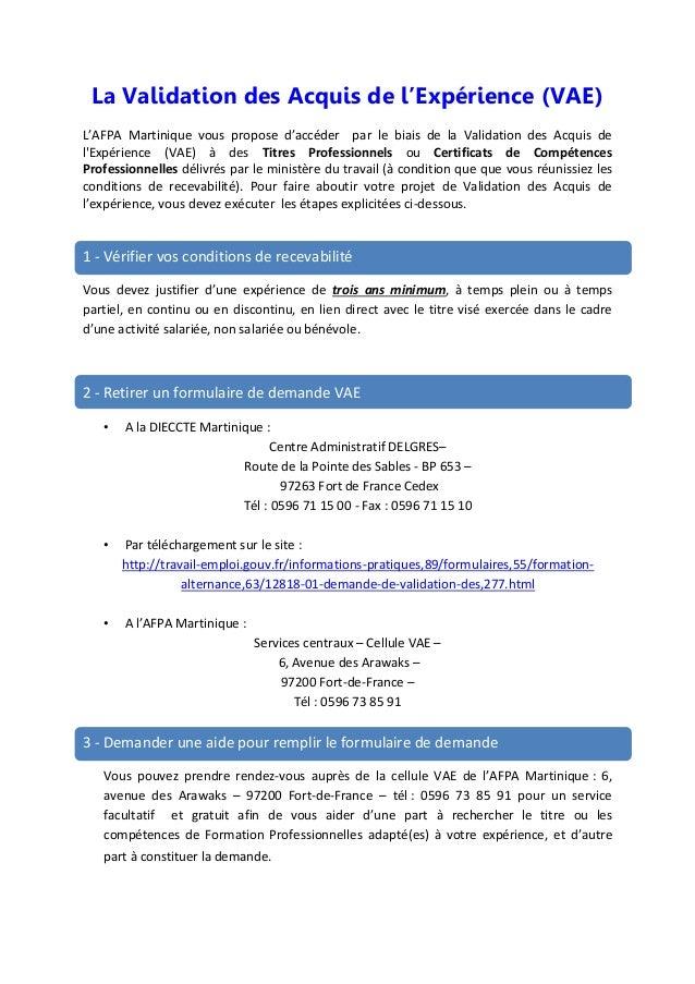 La Validation des Acquis de l'Expérience (VAE) L'AFPA Martinique vous propose d'accéder par le biais de la Validation des ...