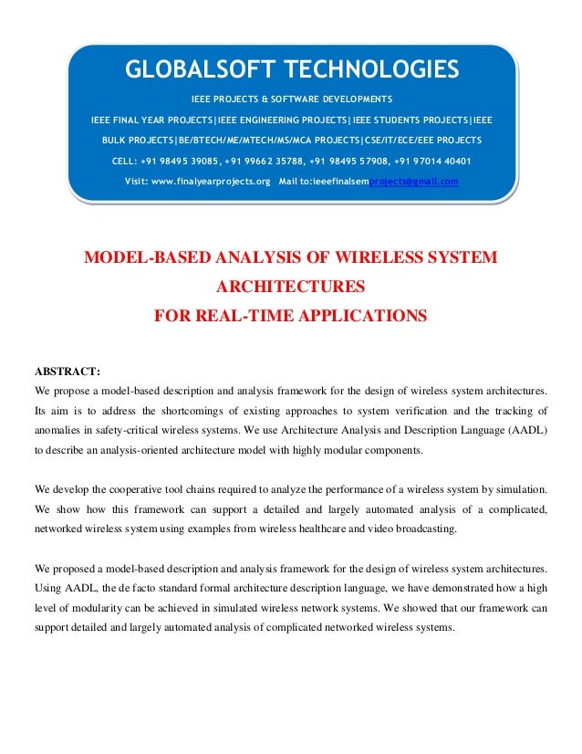 DOTNET 2013 IEEE MOBILECOMPUTING PROJECT Model based analysis of wireless system architectures for real-time applications