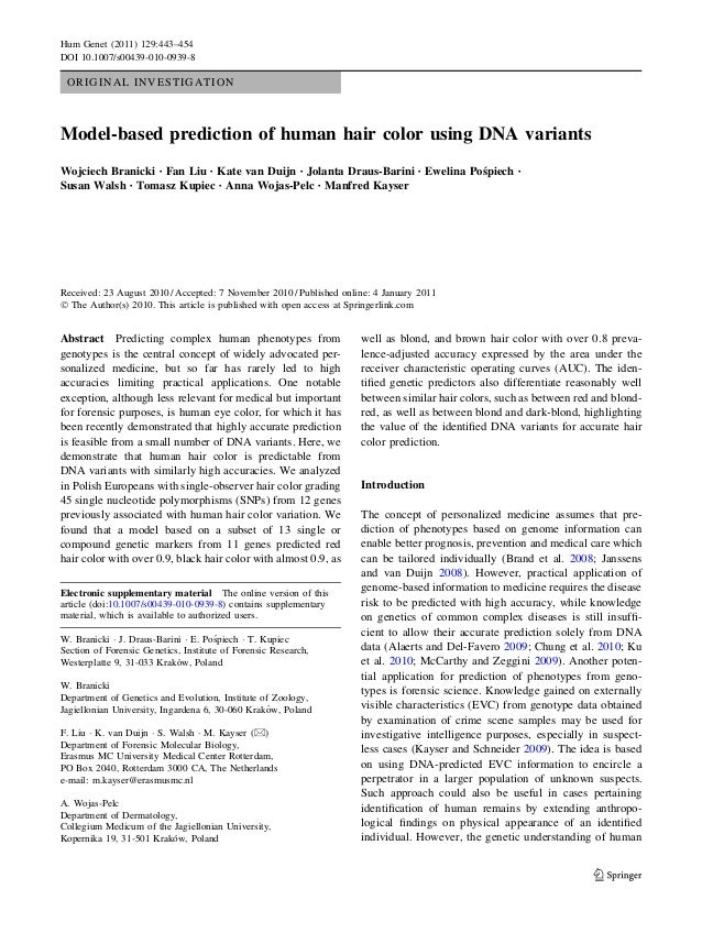 Model based prediction of human hair color using DNA variants
