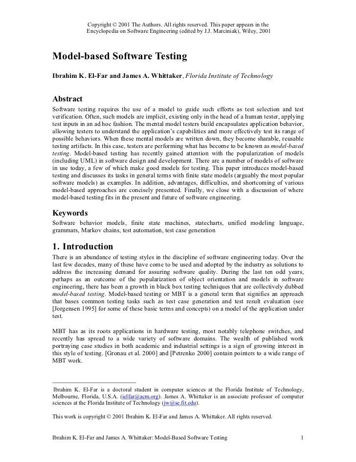 Model based software testing