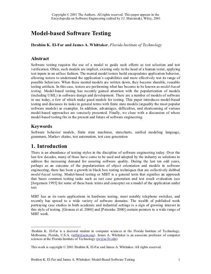 Model based software testing