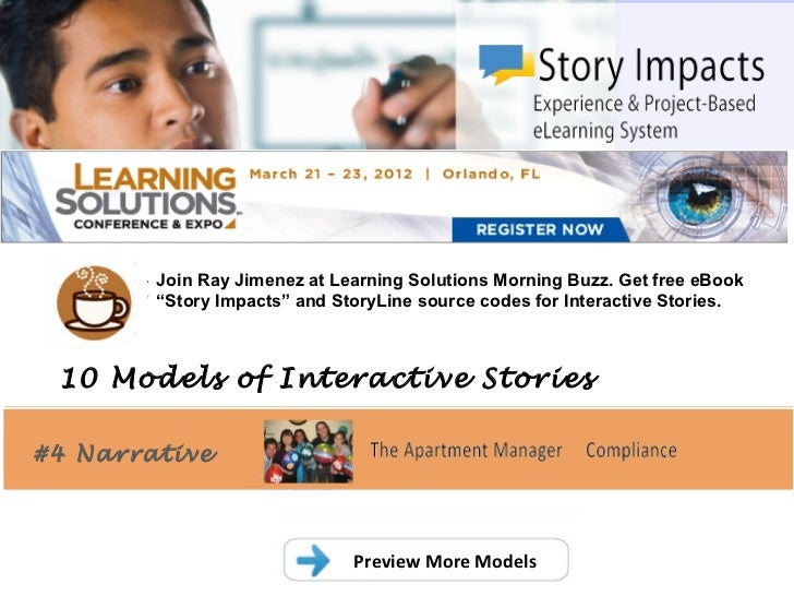 ".        Join Ray Jimenez at Learning Solutions Morning Buzz. Get free eBook        ""Story Impacts"" and StoryLine source c..."