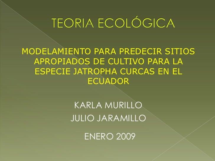 Modelamiento de ocurrencia de la especie jatropha curcas