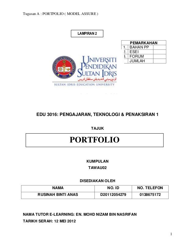 Tugasan A : PORTPOLIO ( MODEL ASSURE )                            LAMPIRAN 2                                              ...