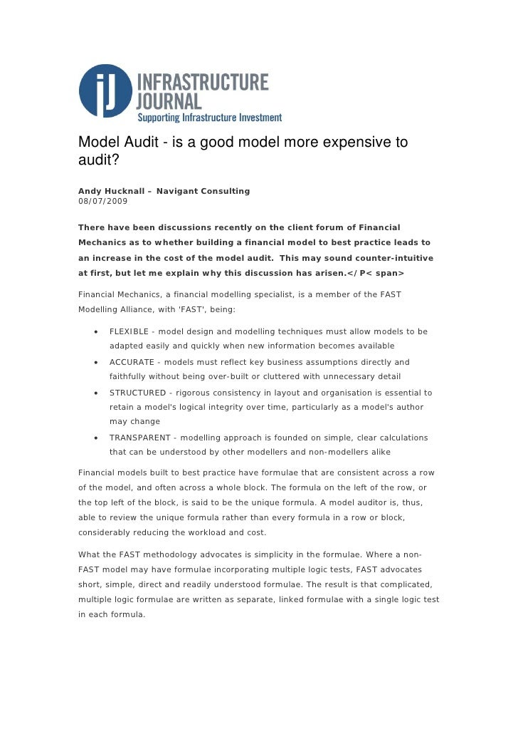 Model Audit - is a good model more expensive to audit? Andy Hucknall – Navigant Consulting 08/07/2009   There have been di...