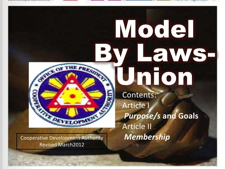 Model                             By Laws-                              Union                                    Contents:...