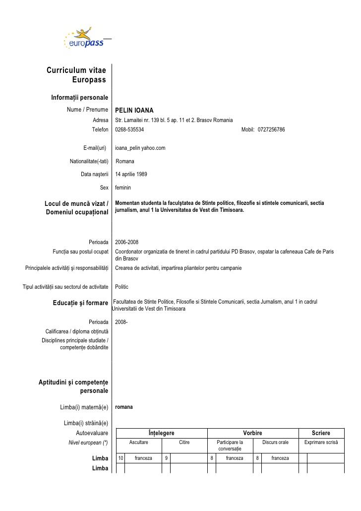 Fresh Essays Example Of Cv Europass