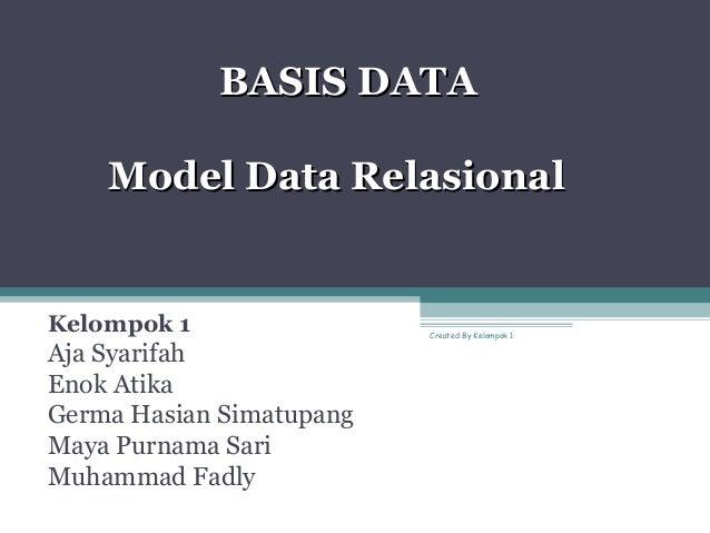 BASIS DATABASIS DATA Model Data RelasionalModel Data Relasional Kelompok 1 Aja Syarifah Enok Atika Germa Hasian Simatupang...