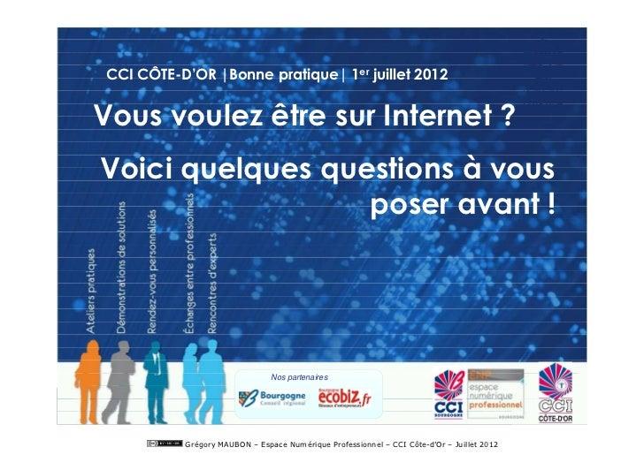 CCI CÔTE-D'OR |Bonne pratique| 1er juillet 2012Vous voulez être sur Internet ?Voici quelques questions à vous             ...