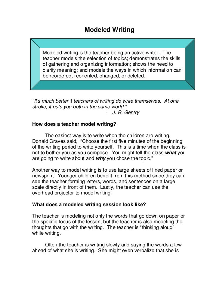 Modeled Writing     Modeled writing is the teacher being an active writer. The     teacher models the selection of topics;...
