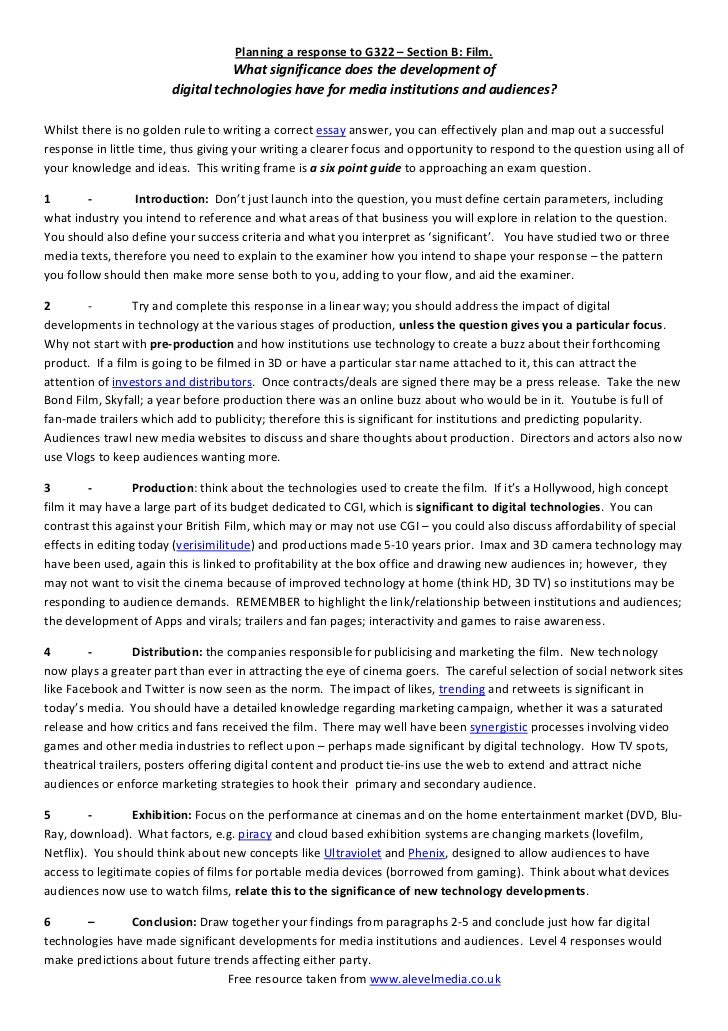 model essay plan for a g media studies film response jpg cb  us history essay on slavery in the south