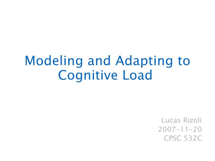 Modeling  and Adapting to Cognitive Load  Lucas Rizoli 2007-11-20 CPSC 532C