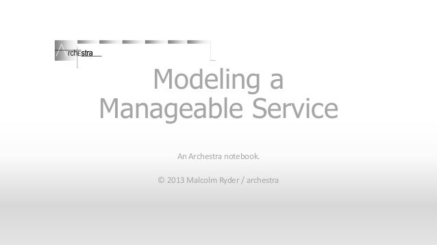 Modeling a Manageable Service An Archestra notebook. © 2013 Malcolm Ryder / archestra