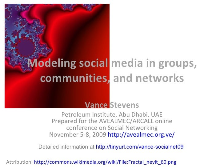 Modeling social media in groups, communities, and networks - Socialnetworking 2009 Online Conference