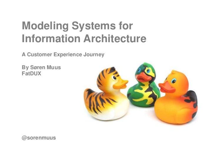Modeling Systems forInformation ArchitectureA Customer Experience JourneyBy Søren MuusFatDUX@sorenmuus