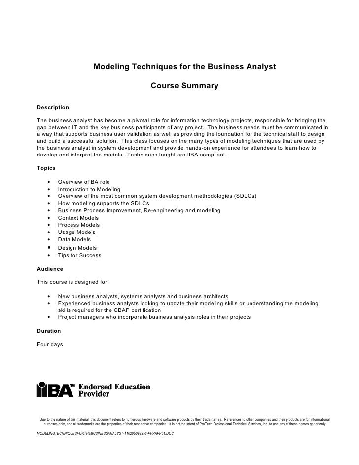 Modeling techniques forthe business analyst