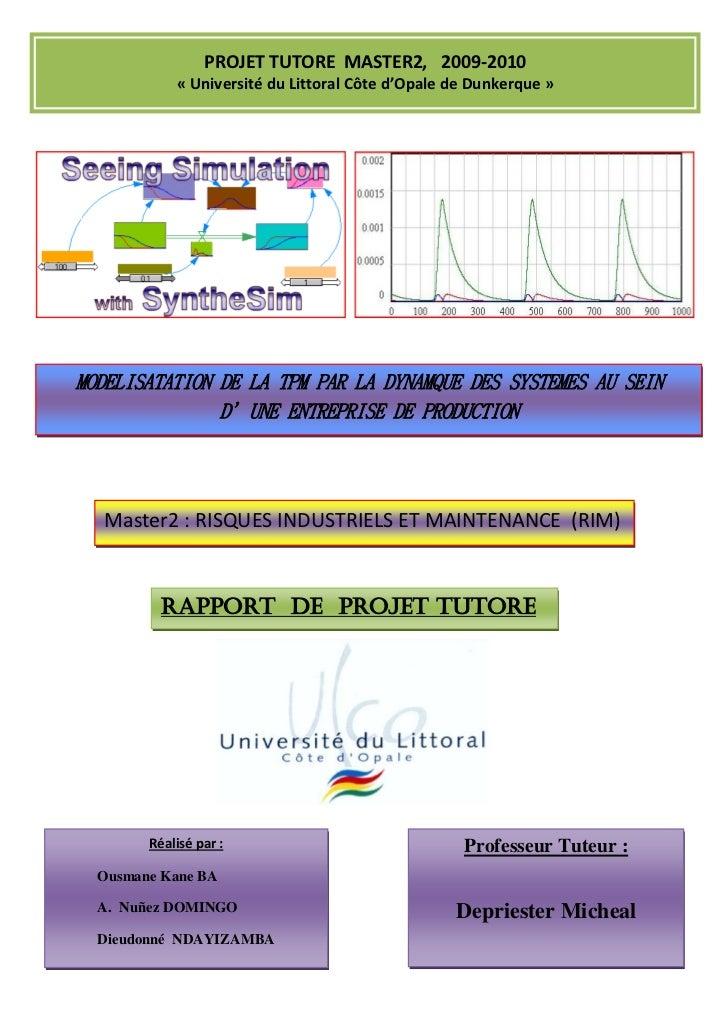 PROJET TUTORE MASTER2, 2009-2010            « Université du Littoral Côte d'Opale de Dunkerque »MODELISATATION DE LA TPM P...