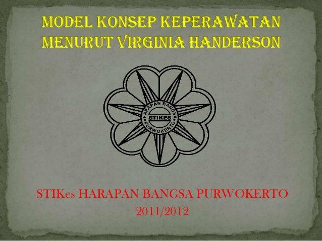 Model konsep keperawatan menurut virginia handerson