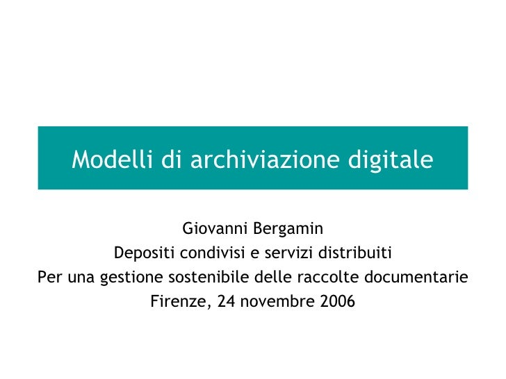 Modelli di archiviazione digitale