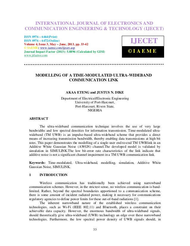 Modelling of a time modulated ultra-wideband communication link