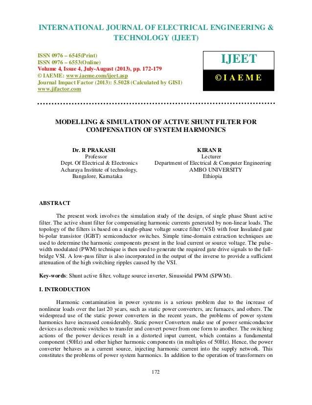 Modelling & simulation of active shunt filter for compensation of system harm