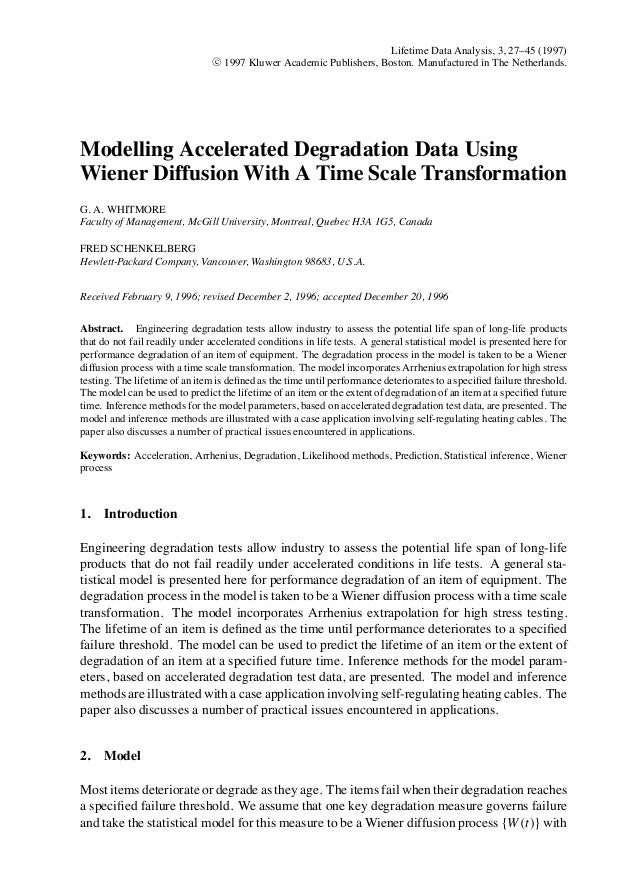 Modeling Accelerated Degradation Data Using Wiener Diffusion With A Time Scale Transformation
