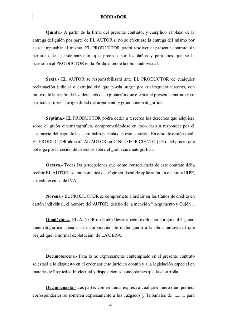 Modelo contrato entre productor y guionista1 for Clausula suelo firma acuerdo privado