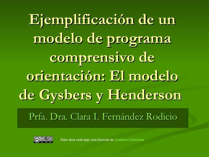 Ejemplificación de un modelo de programa comprensivo de orientación: El modelo de Gysbers y Henderson   Prfa. Dra. Clara I...