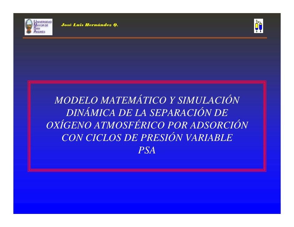 José Luis Hernández Q.      MODELO MATEMÁTICO Y SIMULACIÓN    DINÁMICA DE LA SEPARACIÓN DE OXÍGENO ATMOSFÉRICO POR ADSORCI...
