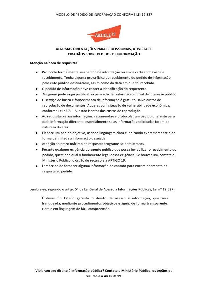 Modelo pedido de informação lei 12.527