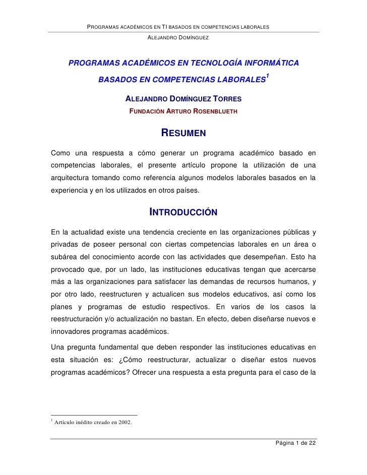 PROGRAMAS ACADÉMICOS EN TI BASADOS EN COMPETENCIAS LABORALES                                        ALEJANDRO DOMÍNGUEZ   ...