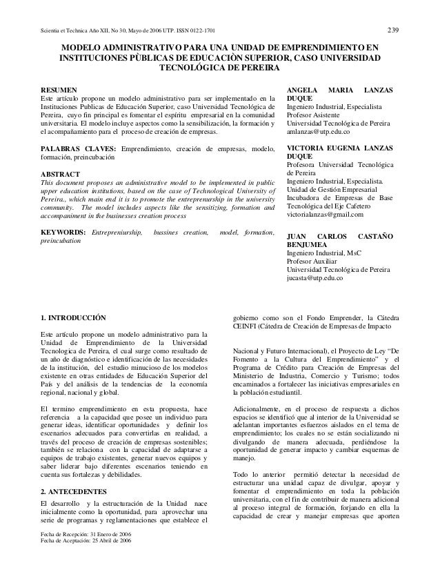 Scientia et Technica Año XII, No 30, Mayo de 2006 UTP. ISSN 0122-1701 239 Fecha de Recepción: 31 Enero de 2006 Fecha de Ac...