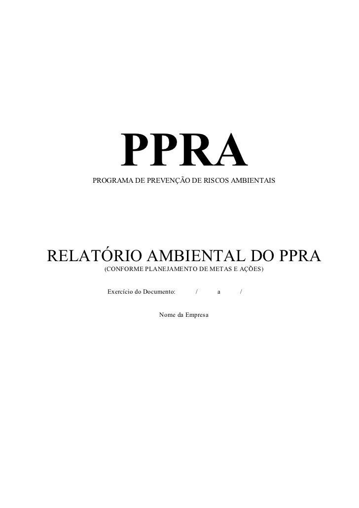 Modelo de Documento de Avaliação de Riscos do PPRA
