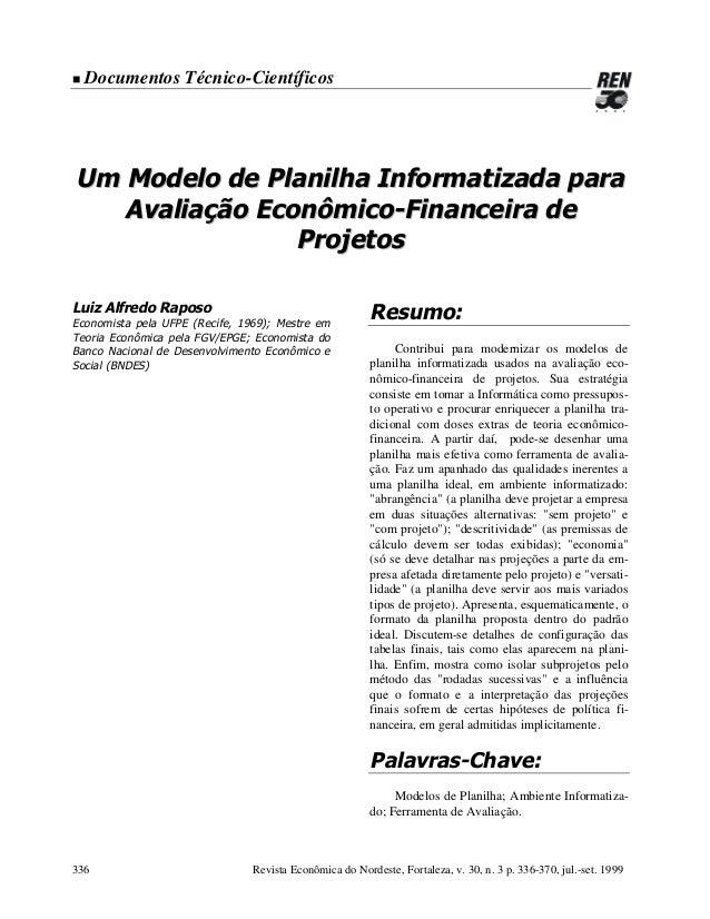 !  Documentos Técnico-Científicos  Um Modelo de Planilha Informatizada para Avaliação Econômico-Financeira de Projetos Lui...