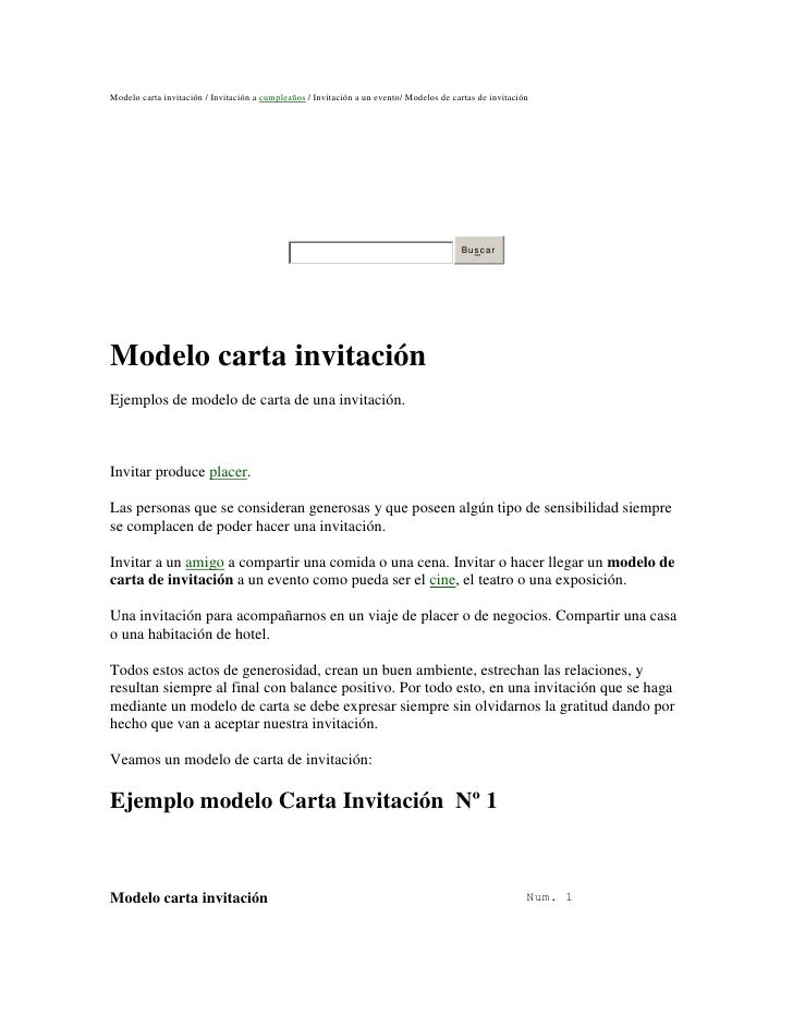 Modelo carta invitaci 243 n