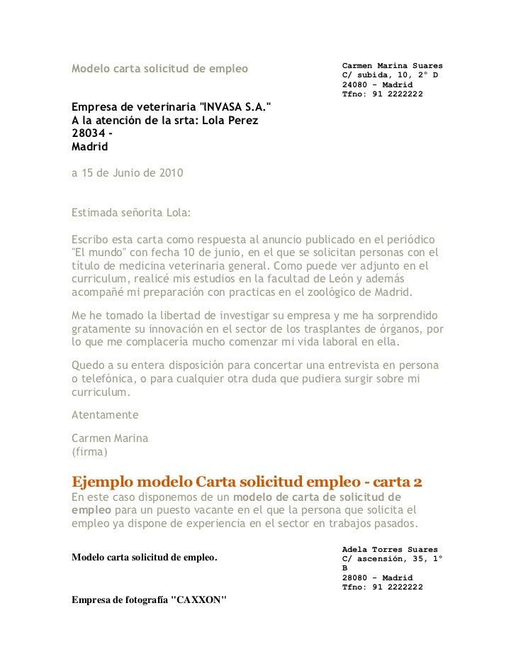 Modelo carta solicitud de empleo                     Carmen Marina Suares                                                 ...