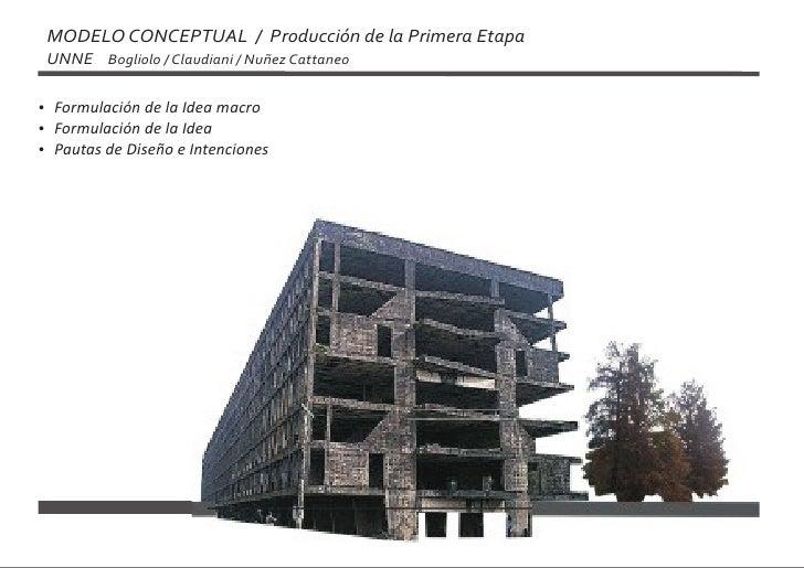 MODELO CONCEPTUAL / Producción de la Primera Etapa  UNNE Bogliolo / Claudiani / Nuñez Cattaneo  Formulación de la Idea mac...
