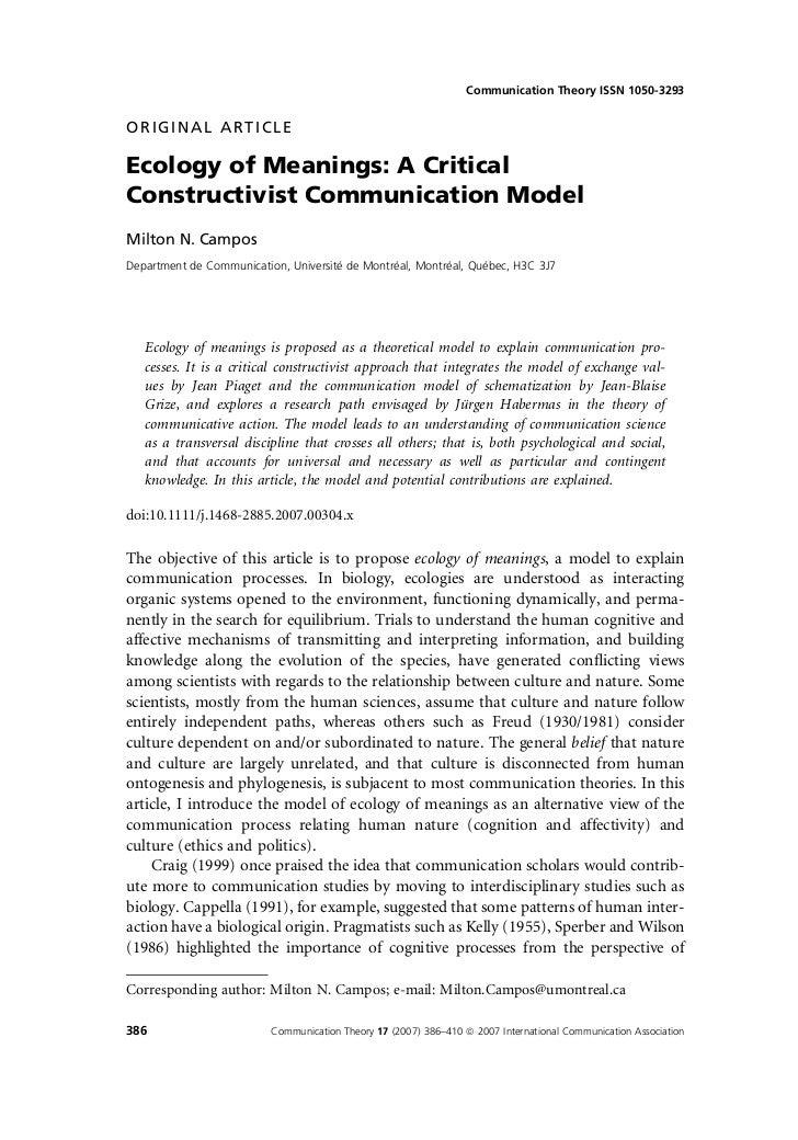 Communication Theory ISSN 1050-3293ORIGINAL ARTICLEEcology of Meanings: A CriticalConstructivist Communication ModelMilton...