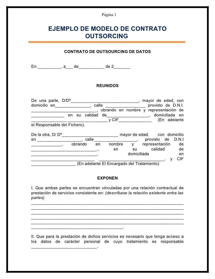 modelo contrato de outsourcing